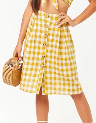 Reverse Gingham Crop Cami & Skirt Set