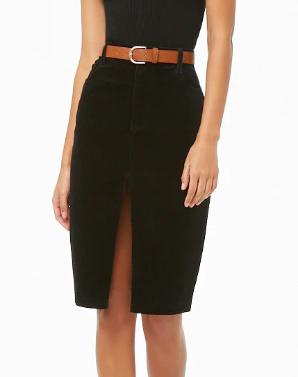 Forever 21 Slit Corduroy Pencil Skirt