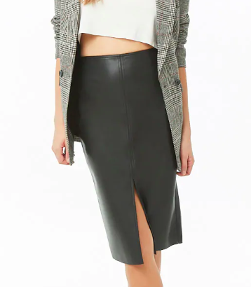 Forever 21 Faux Leather Topstitched Pencil Skirt