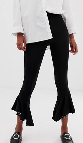 ASOS DESIGN ruffle hem legging with metal trim
