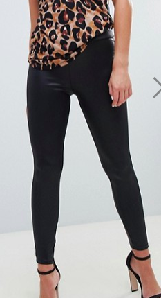 River Island leather look leggings in black