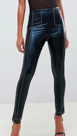 ASOS DESIGN wet look legging with contrast stitch detail