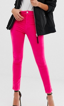 ASOS DESIGN Rivington high waisted jeggings in knockout pink velvet