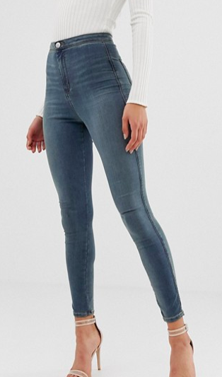 ASOS DESIGN Rivington high waisted jeggings in smokey blue wash
