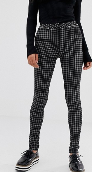 New Look slim leg check pants in black pattern