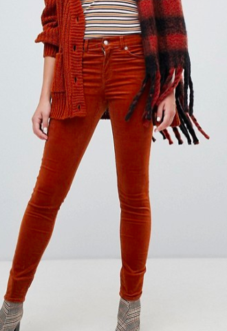 Monki skinny cord pants in rust