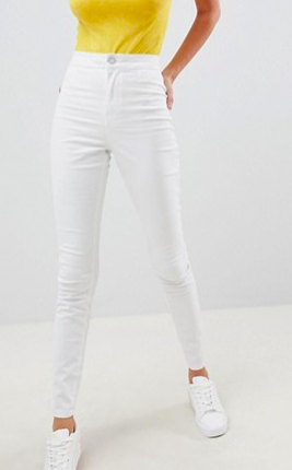 Noisy May high waisted jegging jean in white