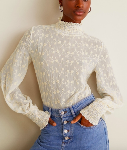 Mango Floral embroidered blouse