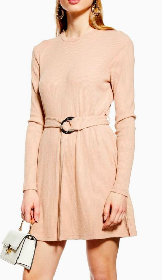 Topshop Ribbed Belted Mini Dress
