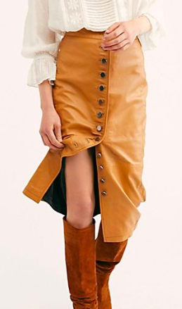 FP Leather Button Front Skirt