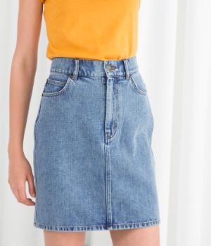 Stories High Waisted Denim Mini Skirt
