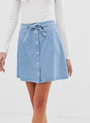ASOS DESIGN denim button through mini skirt with skinny belt in pretty blue