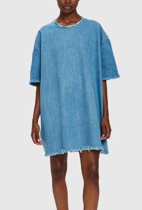 Ashley Rowe Short Denim Dress in Medium Wash