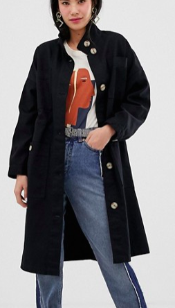 Monki midi lightweight coat with oversized pockets in black
