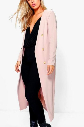 Boohoo Plus Button Front Longline Duster Jacket