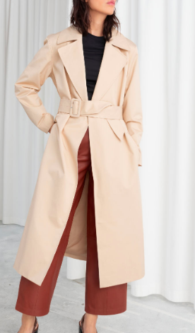 Stories Belted Cotton Twill Trenchcoat