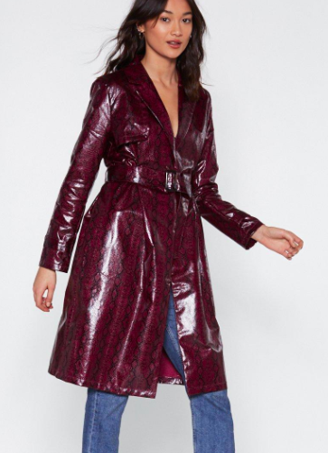 Nasty Gal Beware of Snakes Trench Coat