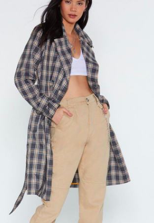 Nasty Gal Check Off Trench Coat Promotions