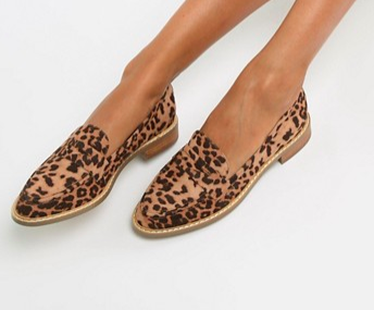 ASOS DESIGN Mantra loafer flat shoes in leopard