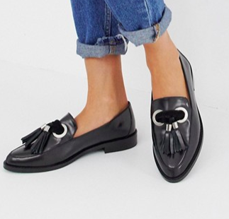 ASOS DESIGN Mimic leather loafer flat shoes