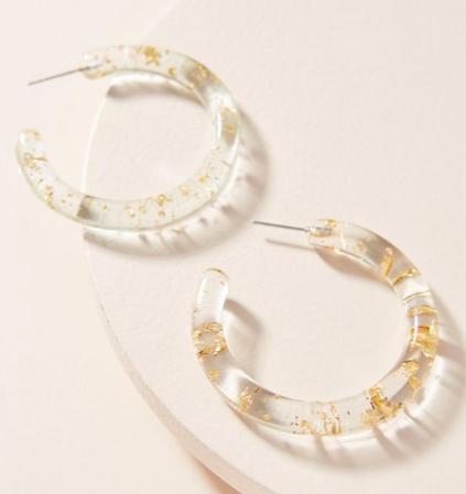Anthropologie Flecked Resin Hoop Earrings