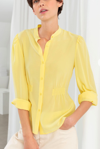 Stories Ruched Silk Blouse