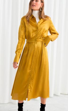 Stories Belted Satin Midi Dress