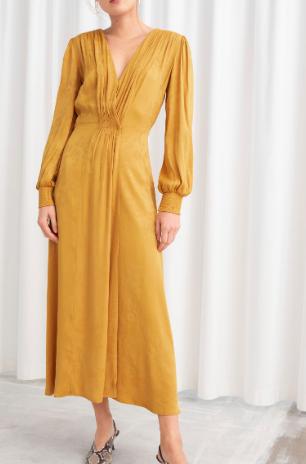 Stories Ruched Jacquard Midi Dress
