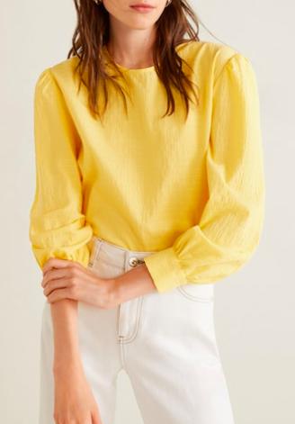 Mango Striped cotton blouse