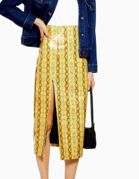 Topshop Snake PU Midi Skirt