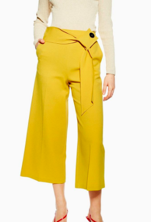 Topshop Button Detail Bonded Cropped Trousers