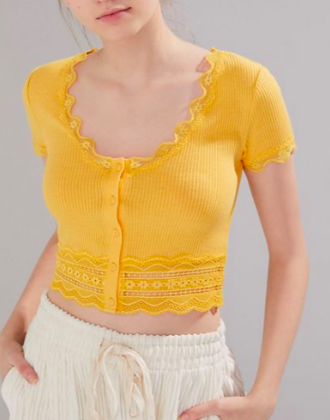 UO Darcy Lace Trim Button-Up Cropped Top