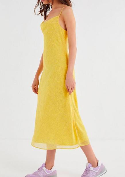 UO Ava Polka Dot Cowl Neck Slip Dress