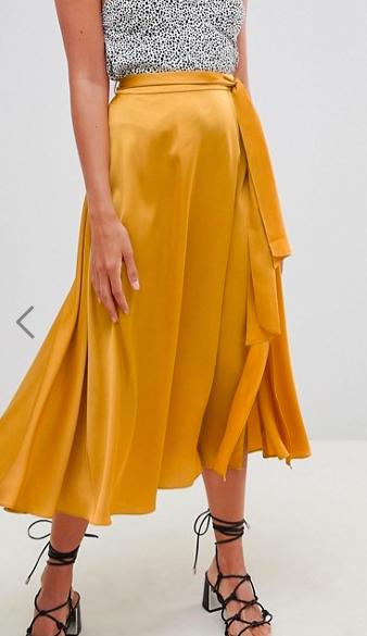 ASOS DESIGN satin midi skirt with self belt