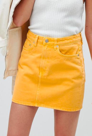 Weekday wend denim mini skirt in yellow