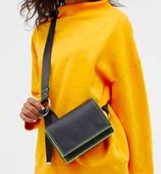 ASOS DESIGN sling bag with neon edging