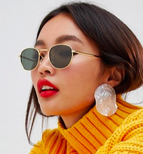 ASOS DESIGN oval metal sunglasses with polarised lens