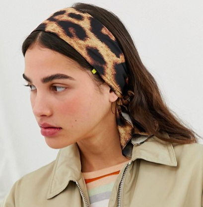 Monki head scarf in leopard print