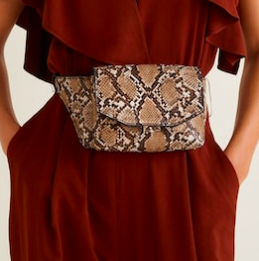 Mango Snake-effect belt bag