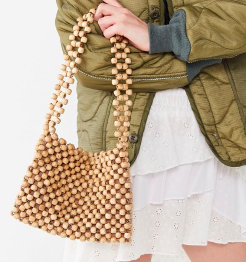 UO Wood Beaded Shoulder Bag