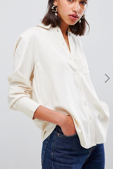Warehouse button through shirt in ecru
