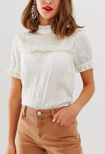 Vero Moda aware high neck micro ruffle blouse