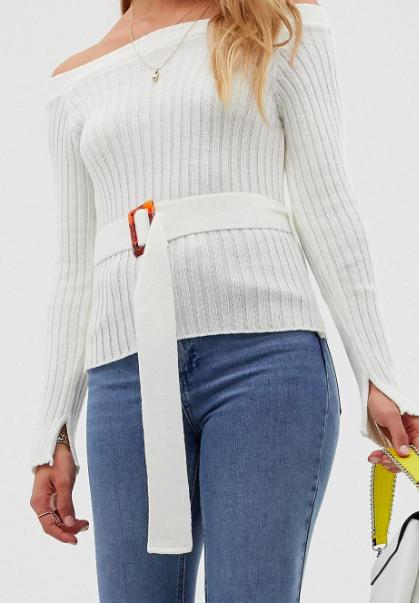 ASOS DESIGN off shoulder rib knit sweater with belt detail