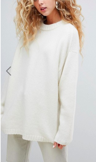 Weekday soft touch oversized sweater in off white