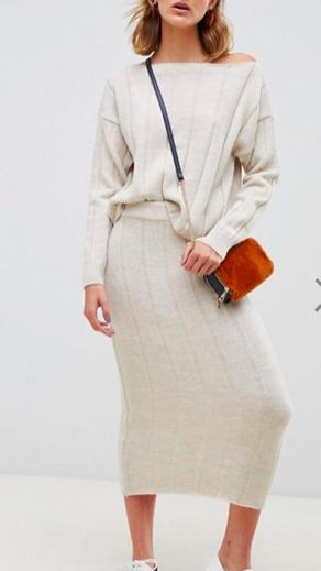 ASOS DESIGN two-piece midi skirt in wide rib