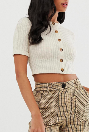 Fashion Union ribbed cropped button front top