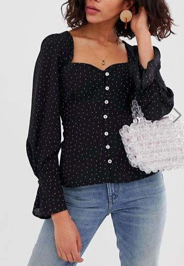 ASOS DESIGN long sleeve sweetheart neck top with button through