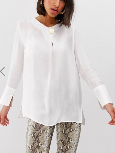 Mango gold disc detail blouse in White