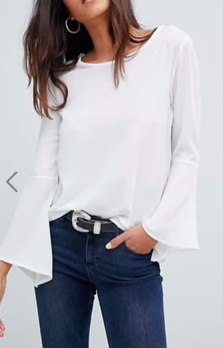 Boohoo basic flute sleeve blouse