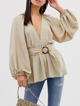 ASOS DESIGN long sleeve plunge top with kimono sleeve and belt
